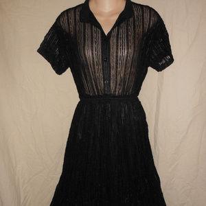 BRANDY USA S M 38 Black Sheer Lace Dress Grunge